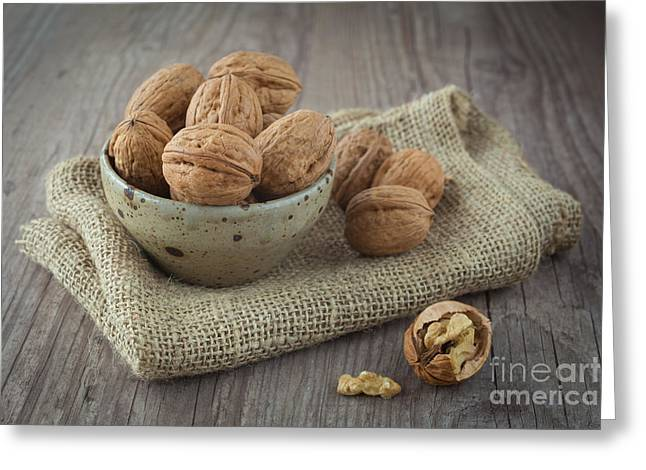 Wooden Bowl Greeting Cards - Walnuts Greeting Card by Sabino Parente