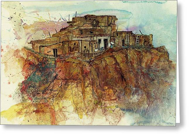 Indian Dwelling Greeting Cards - Walpi Village First Mesa  Hopi Reservation Greeting Card by Elaine Elliott