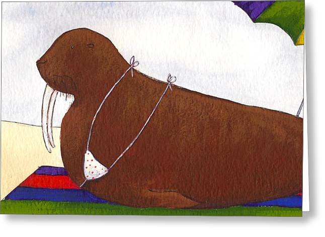 Bikini Greeting Cards - Walrus at the Beach Greeting Card by Christy Beckwith