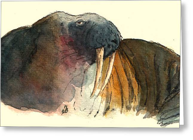 Ivory Art Greeting Cards - Walrus Greeting Card by Juan  Bosco