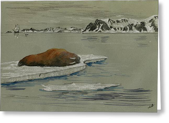 Walrus On The Iceberg Greeting Card by Juan  Bosco