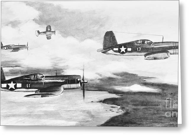 Division Paintings Greeting Cards - Walshs Flight Value Sketch Greeting Card by Stephen Roberson