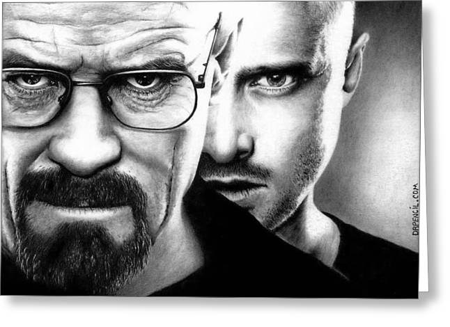 Bad Drawings Greeting Cards - Walt and Jesse - Breaking Bad Greeting Card by Rick Fortson