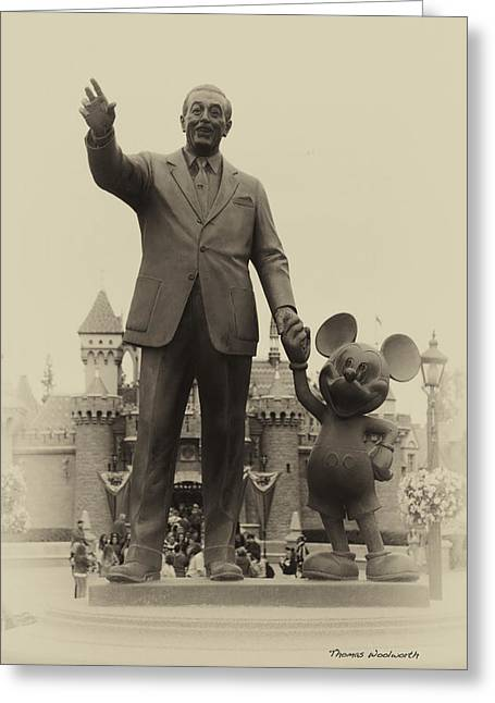 Main Street Greeting Cards - Walt And Mickey Statue Disneyland Heirloom Greeting Card by Thomas Woolworth