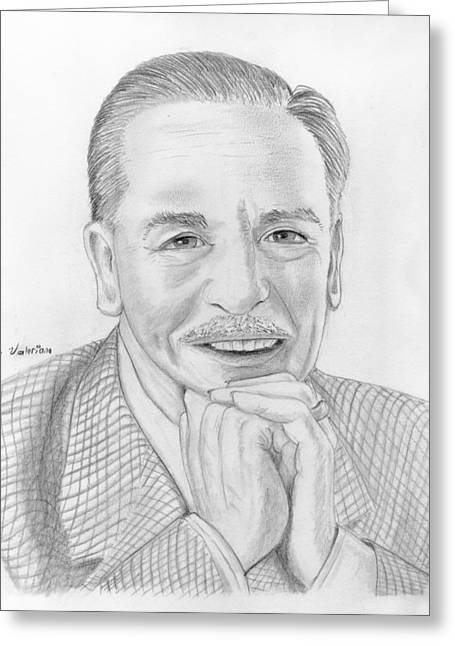 Famous Person Drawings Greeting Cards - Walt Disney Greeting Card by Jose Valeriano