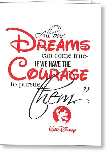 Disney Digital Greeting Cards - Walt Disney quote typography Greeting Card by Lab No 4 - The Quotography Department