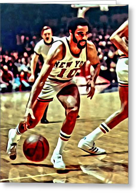 Slamdunk Greeting Cards - Walt Frazier Greeting Card by Florian Rodarte