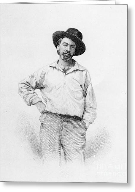 Literary Drawings Greeting Cards - Walt Whitman frontispiece to Leaves of Grass Greeting Card by American School