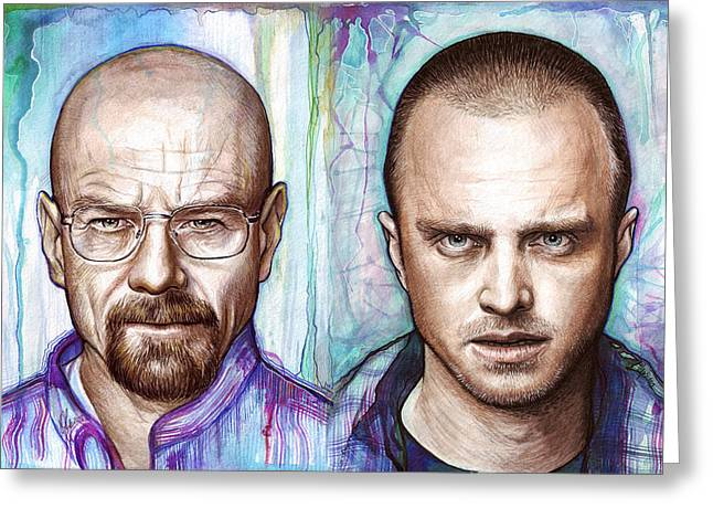 Celebrity Mixed Media Greeting Cards - Walter and Jesse - Breaking Bad Greeting Card by Olga Shvartsur