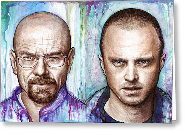 Heisenberg Prints Greeting Cards - Walter and Jesse - Breaking Bad Greeting Card by Olga Shvartsur