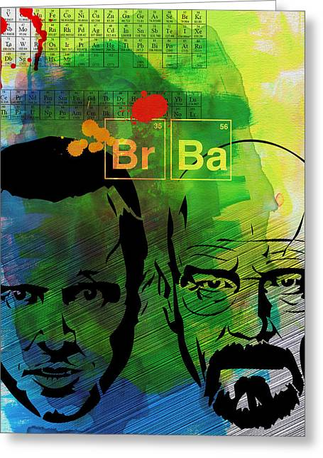 Breaking Bad Greeting Cards - Walter and Jesse Watercolor Greeting Card by Naxart Studio