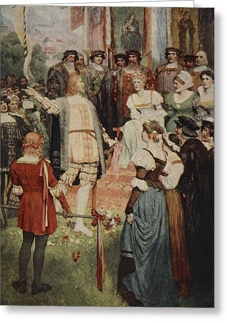 Entertainer Drawings Greeting Cards - Walter Began His Song, From The Stories Greeting Card by Ferdinand Leeke