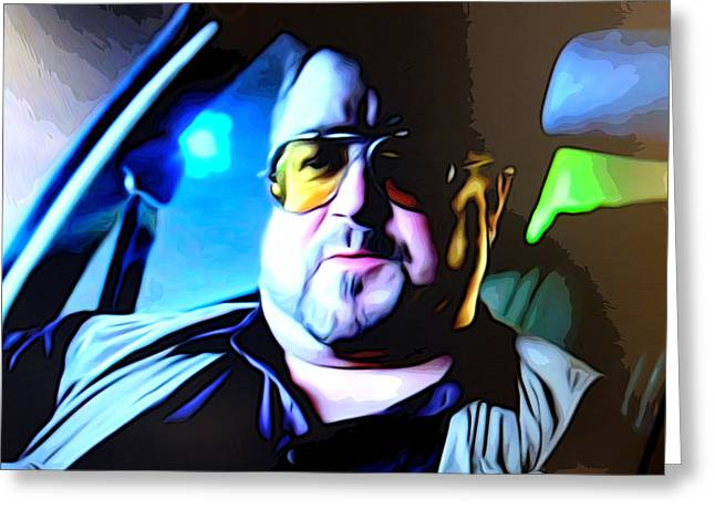 Big Lebowski Photographs Greeting Cards - Walter in the car Greeting Card by Guido Prussia