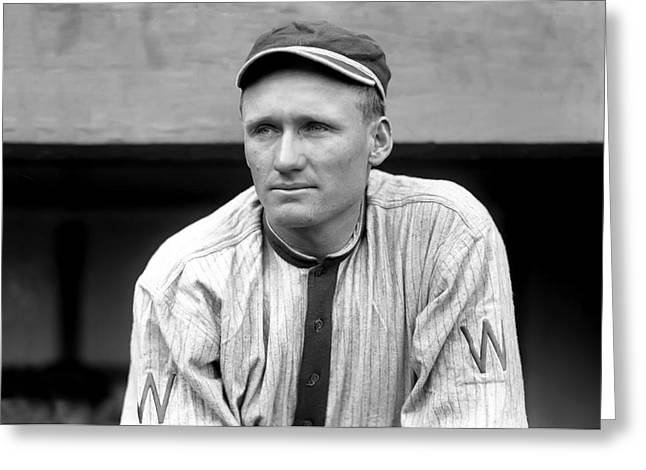 Mvp Photographs Greeting Cards - Walter Johnson Close Up Greeting Card by Retro Images Archive