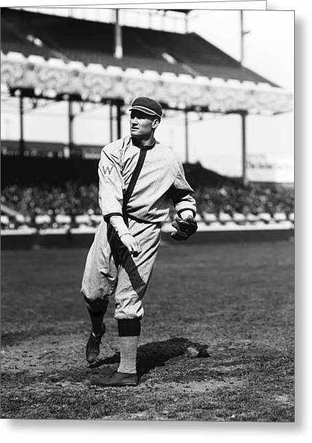 Cleveland Indians Greeting Cards - Walter P. Johnson Follow Through Throw Greeting Card by Retro Images Archive