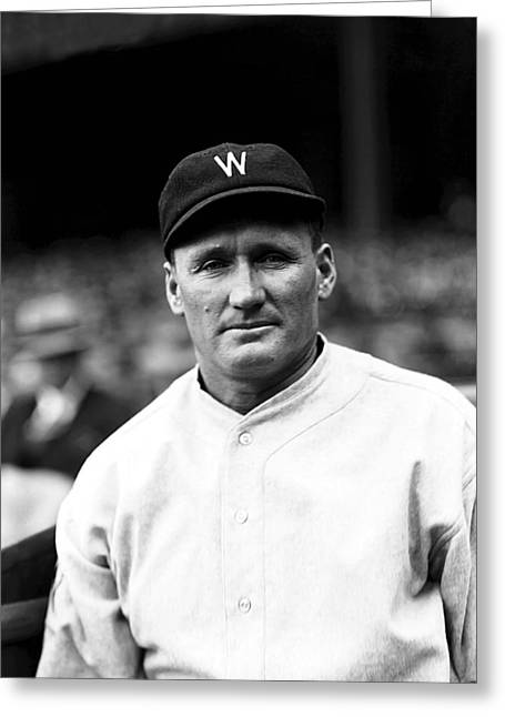 Cleveland Indians Greeting Cards - Walter P. Johnson Looking Ahead Greeting Card by Retro Images Archive