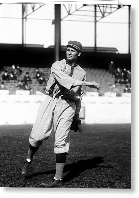 Cleveland Indians Greeting Cards - Walter P. Johnson Pre Game Warm Up Greeting Card by Retro Images Archive
