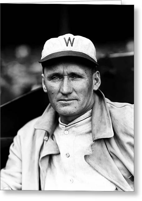 Cleveland Indians Greeting Cards - Walter P. Johnson With Coat On  Greeting Card by Retro Images Archive