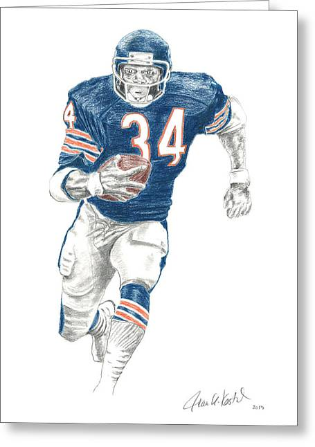 Player Drawings Greeting Cards - Walter Payton Greeting Card by Jean Kostal