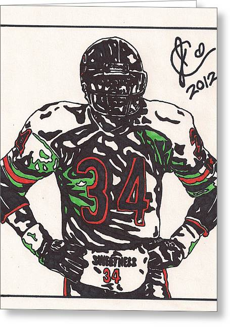 Player Drawings Greeting Cards - Walter Payton Greeting Card by Jeremiah Colley