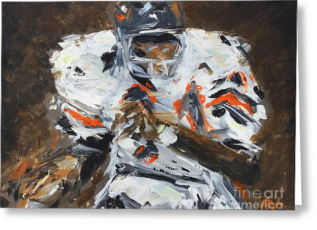 Running Back Paintings Greeting Cards - Walter Payton Greeting Card by Steven Dopka