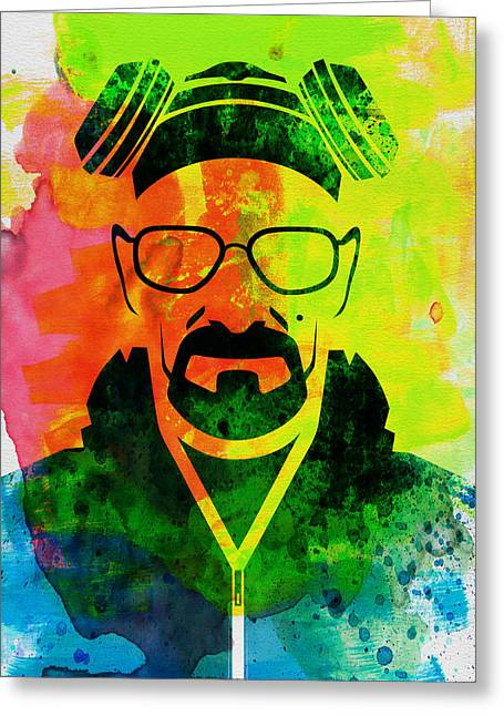 Famous Actor Paintings Greeting Cards - Walter Watercolor Greeting Card by Naxart Studio