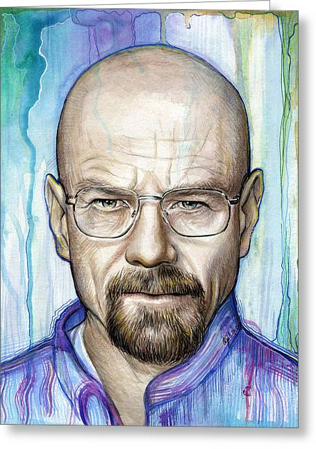 Celebrity Mixed Media Greeting Cards - Walter White - Breaking Bad Greeting Card by Olga Shvartsur