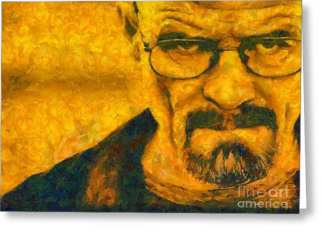 Amc Greeting Cards - Walter White Breaking Bad painting Greeting Card by Pixel Chimp