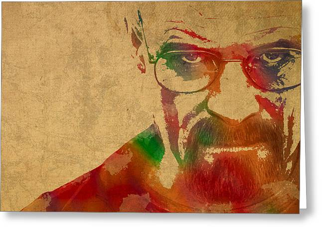 Walter Greeting Cards - Walter White Breaking Bad Watercolor Portrait on Worn Distressed Canvas Greeting Card by Design Turnpike
