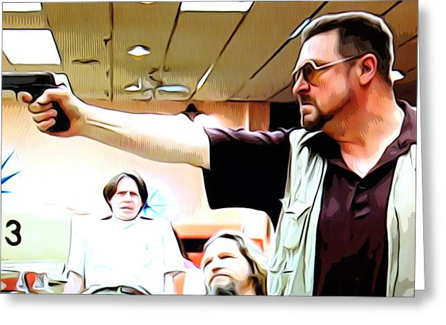 Big Lebowski Photographs Greeting Cards - Walter with gun Greeting Card by Guido Prussia