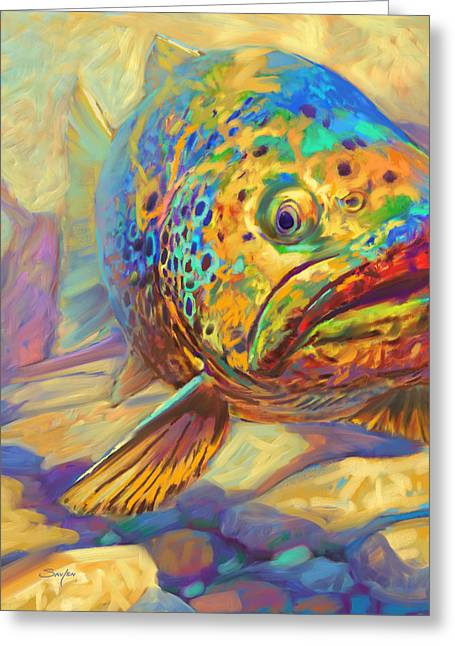 Fly Fishing Print Greeting Cards - Walters Pool - Brown Trout Painting Greeting Card by Mike Savlen