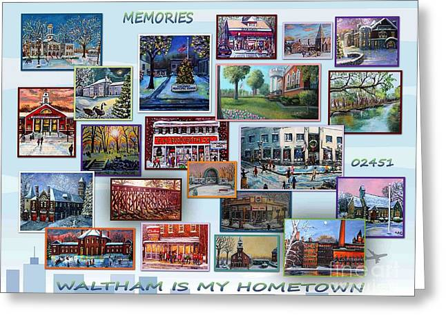 Charles River Paintings Greeting Cards - Waltham is My Hometown Greeting Card by Rita Brown