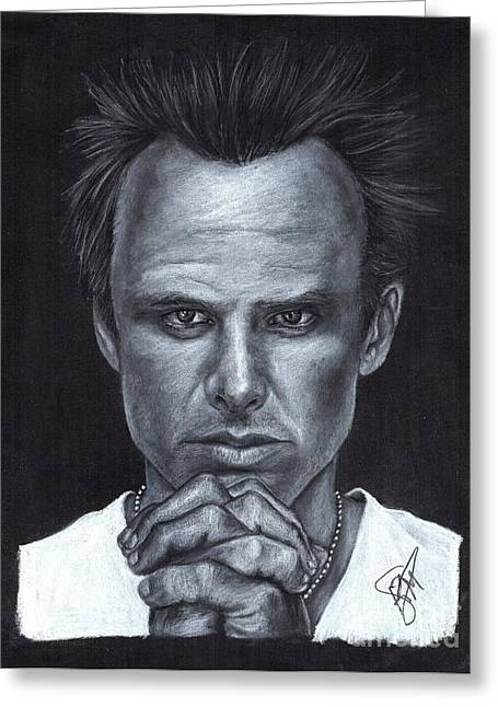 Charcoal Portrait Greeting Cards - Walton Goggins Greeting Card by Rosalinda Markle