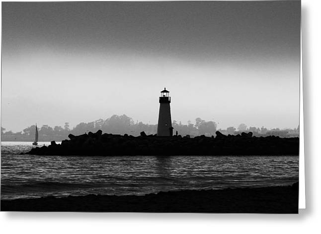 Santa Cruz Sailboat Greeting Cards - Walton Lighthouse BW Greeting Card by Deana Glenz