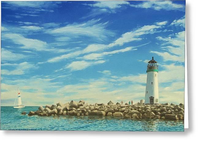 Santa Cruz Paintings Greeting Cards - Walton Lighthouse Greeting Card by James Robertson