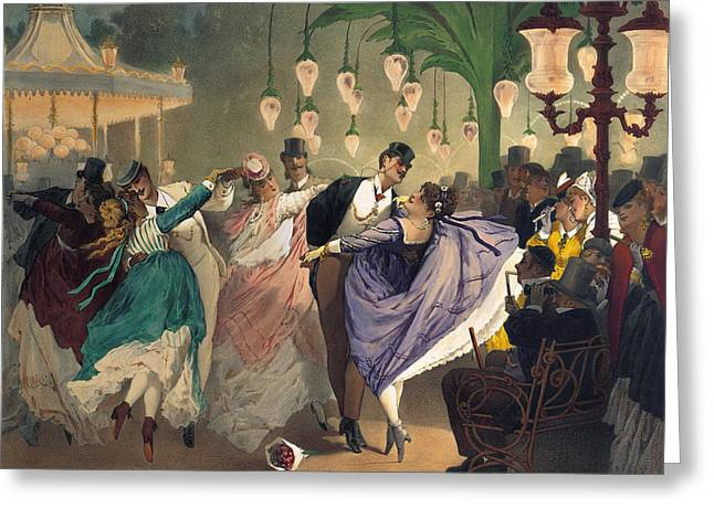 Waltz At The Bal Mabille  Greeting Card by Philippe Jacques Linder
