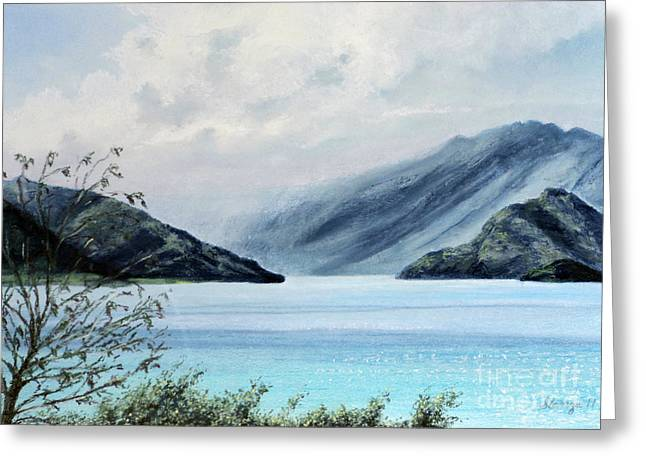 Mystical Landscape Pastels Greeting Cards - Wanaka Lake Greeting Card by Stanza Widen
