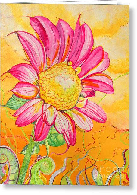 Fanciful Paintings Greeting Cards - Wanda the Windblown Greeting Card by Christine Belt