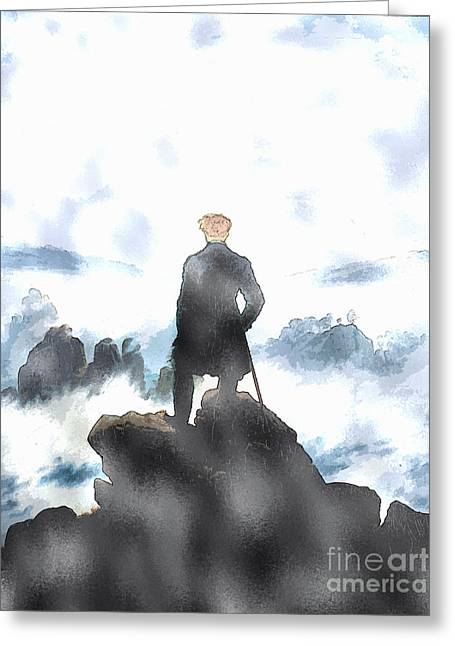 Wanderer Greeting Cards - Wanderer Above the Sea of Fog Greeting Card by Celestial Images