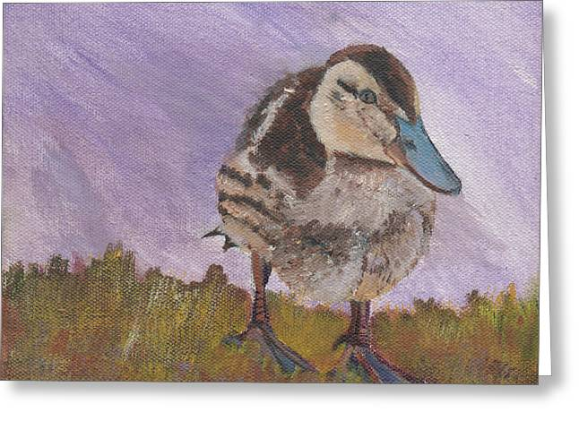 Baby Mallards Paintings Greeting Cards - Wanderer Greeting Card by Denise Wagner