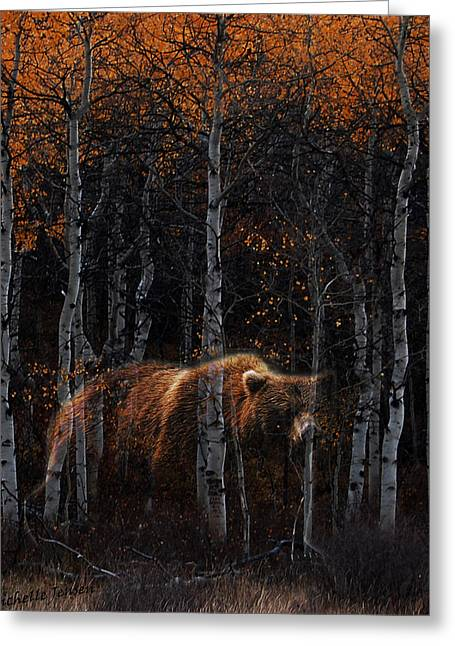 Michelle Mixed Media Greeting Cards - Wandering Ghost Bear Greeting Card by Wishes and Whims Originals By Michelle Jensen