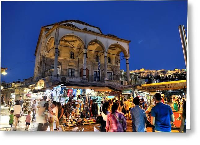 Goff Greeting Cards - Wandering in Monastiraki Greeting Card by Micah Goff