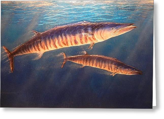 Fish Framed Prints Mixed Media Greeting Cards - Wandering Wahoo Greeting Card by Hank  Bufkin