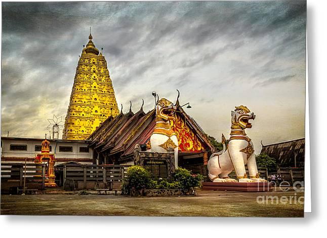 Religious Digital Greeting Cards - Wang Wiwekaram Temple Greeting Card by Adrian Evans