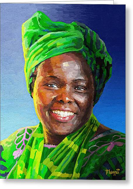 Wildlife Celebration Greeting Cards - Wangari Maathai Greeting Card by Anthony Mwangi