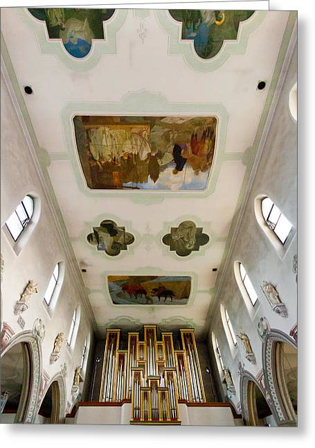 Pipe Organ Greeting Cards - Wangen organ and ceiling Greeting Card by Jenny Setchell