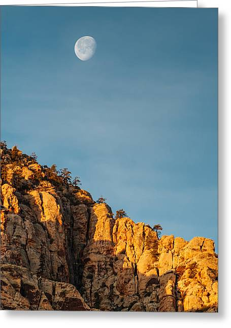 Moonrise Greeting Cards - Waning Gibbous Moon Over the Craggy Peaks of Red Rock Canyon Greeting Card by Silvio Ligutti