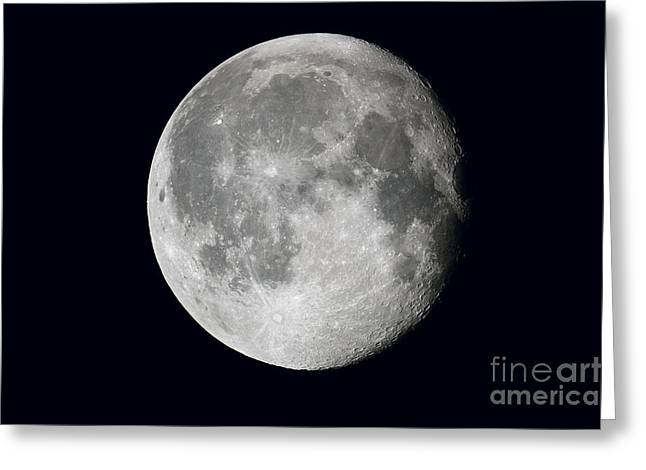 Waning Moon Greeting Cards - Waning Moon And Lunar Landscape Greeting Card by John Chumack