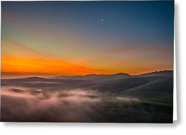 Waning Moon Greeting Cards - Waning Moon At Sunrise Greeting Card by Marc Crumpler