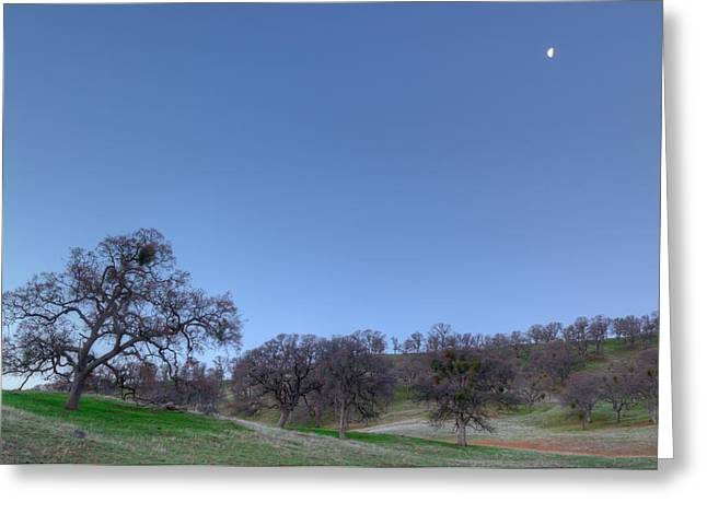 Waning Moon Greeting Cards - Waning Moon Over Round Valley Greeting Card by Marc Crumpler